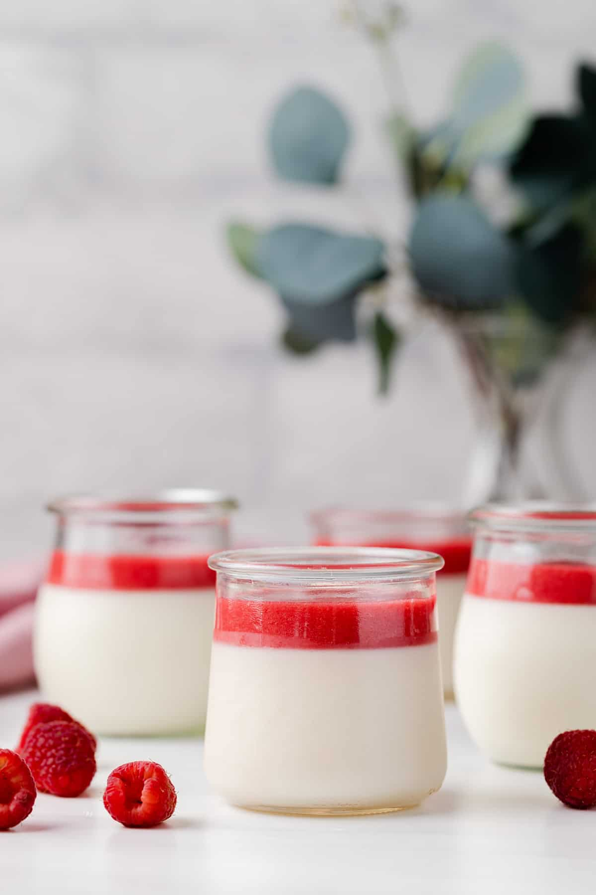 front view of four jars of panna cotta topped with raspberry sauce, fresh raspberries scattered on tabletop and eucalyptus in a vase in the back ground